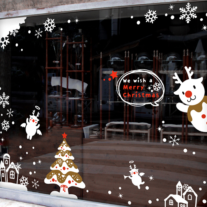 DCTAL Christmas tree BUCK glass window wall sticker decal home decor shop decoration X mas stickers xmas112
