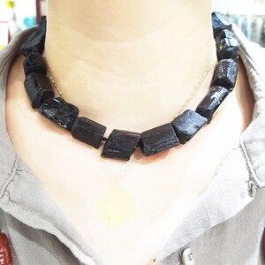 Image 4 - LiiJi Einzigartige Schwarz Tourmalines Riesige Lose Perlen Ca. 15x2 0mm/15x18mm Raw Stein 39cm machen Armband Halskette