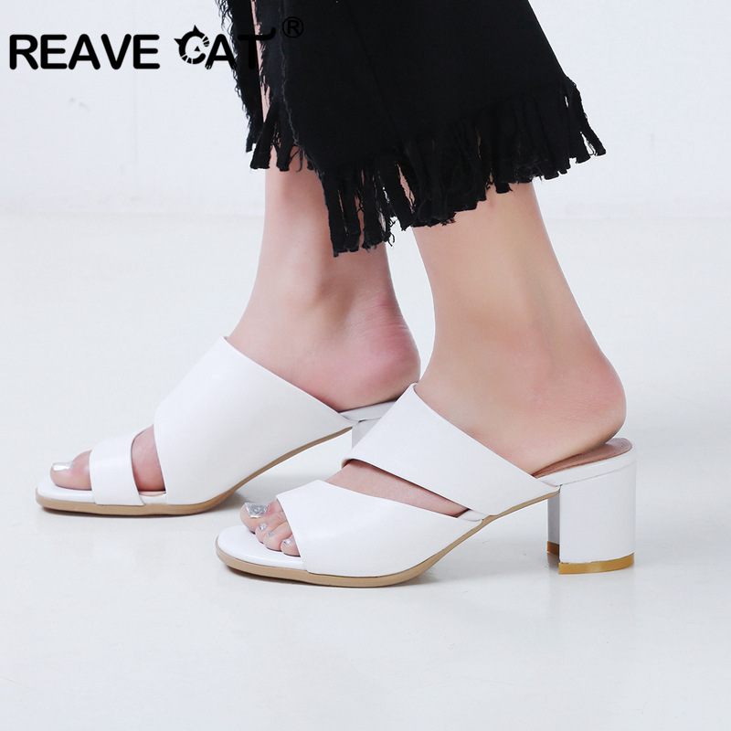 f32ab0ebe06e45 Detail Feedback Questions about REAVE CAT Women Sandals Genuine Leather  Shoes Ladies Summer Slippers Shoes Women High Heels Open toe Thick heel  Mulers A571 ...