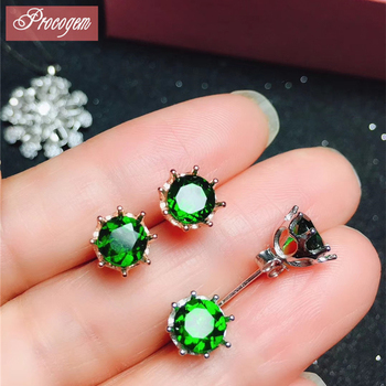 Natural Diopside stud earrings 925 sterling silver Fashion lovely earrings Genuine Gemstone Anniversary gift for women #181010