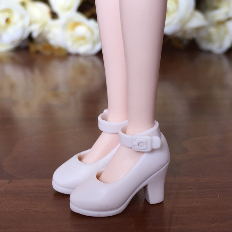White Fashion Shoes For Blythe Dolls 1/6 High Heel Shoes For Licca Doll Mini Shoes For Momoko 1/6 BJD Doll Accessories high quality elastic leather bottoms pants trousers for barbie doll clothes fashion outfit for 1 6 bjd dolls accessories