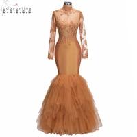 2018 New Organge Long Mermaid Prom Dresses 2018 High Neck Lace Appliques Ruffles Party Dresses Beaded vestido de festa