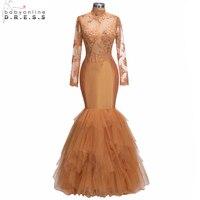 2018 Nowy Organge Długie Prom Dresses 2018 Mermaid Wysoka Neck Lace Aplikacje Ruffles Sukienek Zroszony vestido de festa