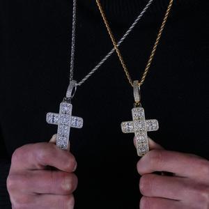 Image 5 - Collier pendentif croix glacé pour hommes/femmes, Micro pavé, Hip Hop, couleur or argent, chaîne à breloques scintillantes, bijoux