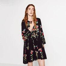 c9967ff183 Multicolor Vestido Bordado New Outono Mulher Vestidos Curto Femme Hippie  Mexicano Do Vintage Vestido Solto