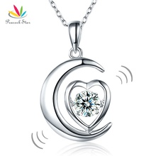 Peacock Star Dancing Stone Moon Heart Pendant Necklace Solid 925 Sterling Silver Good for Bridal Bridesmaid Gift CFN8056