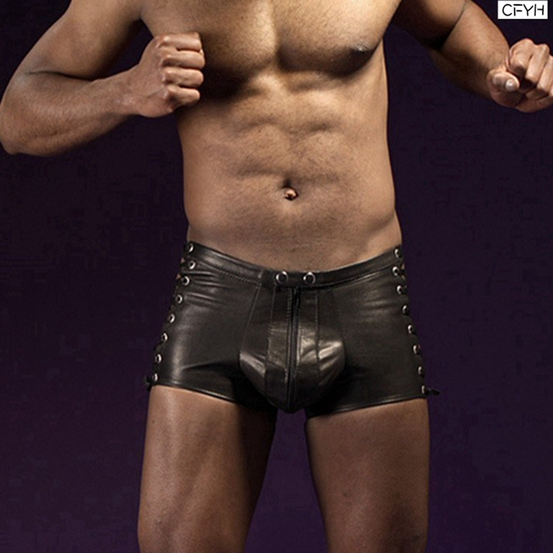 CFYH 2018 New faux leather sexy men underwear boxers sexy mens Bandage boxer double slider zipper panties Plus Size 3XL