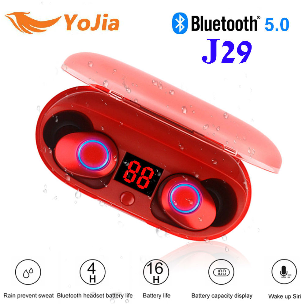 цена Yojia TWS Mini Wireless Ear buds Twins Earphone Bluetooth 5.0 With Battery Case Hands Free headset Battery Display