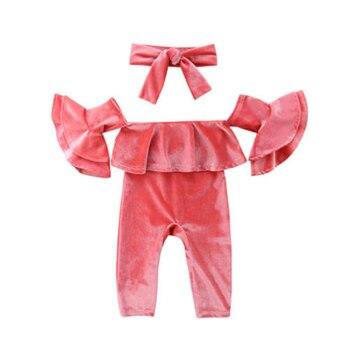 Crianças recém-nascidas Do Bebê de Veludo Menina Sunsuit Roupas Traje Criança Meninas Verão Fora Do Ombro Ruffled Tops Calças Romper 3 pcs Roupas