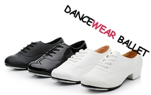 High Quality Adult White And Black Oxford Shiny Patent Leather Lace-Up Flat Dance Tap Shoes For Men