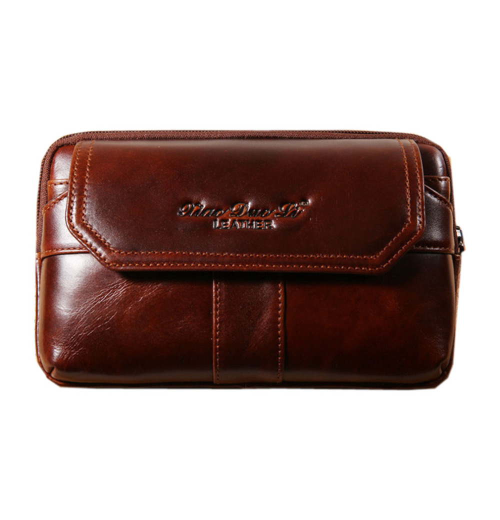 2018 New Men Oil Wax Ægte Læder Cowhide Vintage Cell Phone Hip Bum Bælte Taske Fanny Pack Talje Wallet Purse Clutch Bag