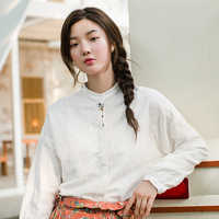 INMAN 2019 Autumn Linen Cotton Stand Collar Delicate Embroidery Women Artistic Blouse