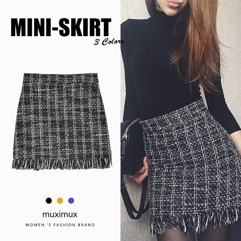 6b14965f0322f 2018 Winter Women Tassel Skirts Series High Waist Female Autumn Casual  Vintage Plaid Mini Short A