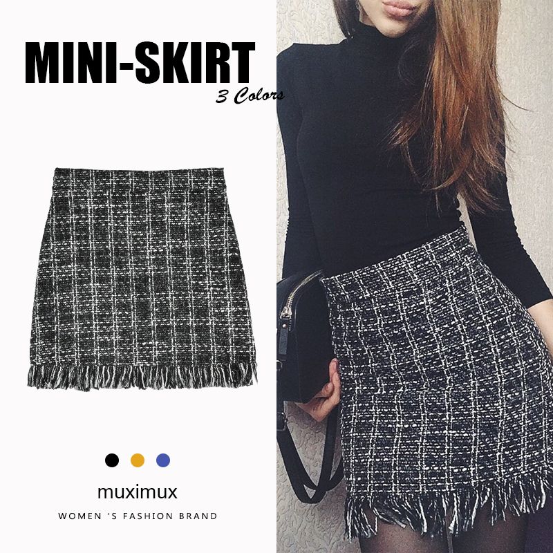 Winter Women Tassel Skirts Series High Waist Female Autumn Casual Vintage Plaid Mini Short A-line Skirt For Women
