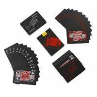 54 Pcs Karten/Deck 100% Kunststoff PVC Kreative Schwarz Kunststoff Magie Spielkarten Wasserdicht Casual Spiel Poker Karten