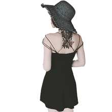 Waeolsa женщина черный платье-комбинация пикантные весенние летний сарафан Женские стильный шик платье леди Повседневное Cottom трикотажные баски Платья для женщин