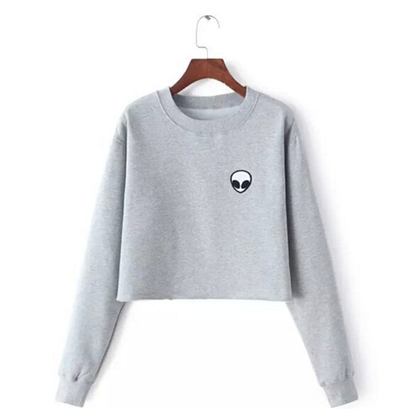 ET Utlänningar Utskrift Hoodies Sweatshirts harajuku Crew Neck Sweats Damkläder Feminina Loose Short Fleece Jumper Sweats Warm