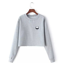 ET Aliens Printing Hoodies Sweatshirts harajuku Crew neck Sweats Women Clothing Feminina Loose Short Fleece Jumper Sweats Warm(China)