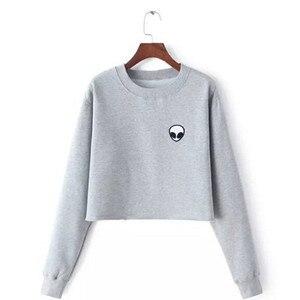 ET Aliens Printing Hoodies Sweatshirts harajuku Crew neck Sweats Women Clothing Feminina Loose Short Fleece Jumper Sweats Warm(China)