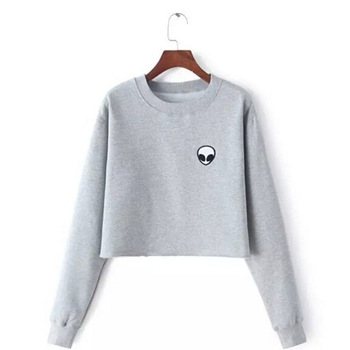 ET Aliens Printing Hoodies Sweatshirts harajuku Crew neck Sweats Women Clothing Feminina Loose Short Fleece Jumper Sweats Warm!