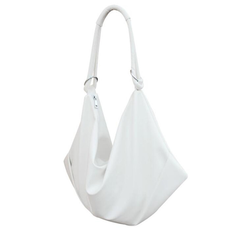 Simple Style PU Leather Women Shoulder Bag Light Casual Bag White Large Capacity Totes Shopping Bag