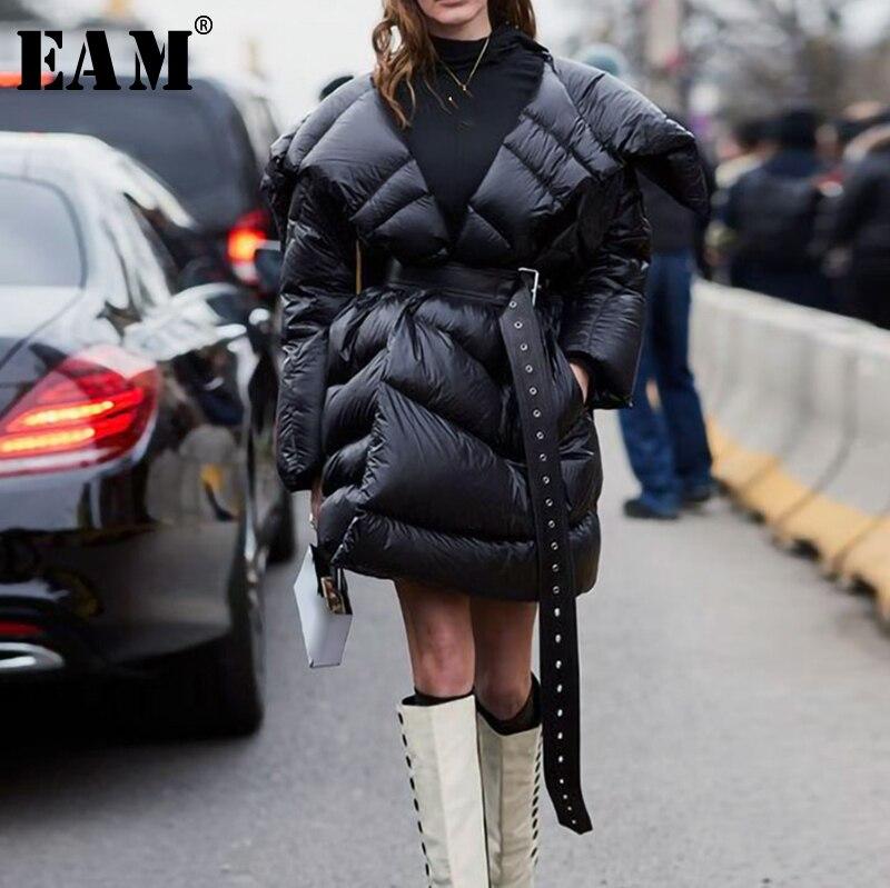 [EAM] 2019 осень зима женские новые черные длинные рукава большой отложной воротник Регулируемая Талия толстые неровные пуховики LE871