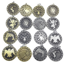 Newest Movie Jewelry Game of Thrones Key Chain House Stark Targaryen Keychain keyrings Gift Jewelry house stark of game of thrones house theme pendant pocket watch with necklace chain best gift for fans of american drama