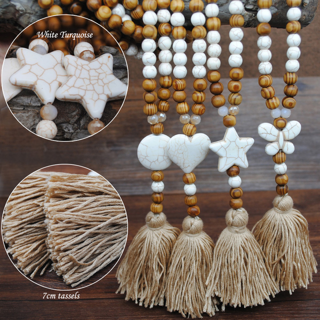 Yumfeel New Bohemian Necklace Handmade Stones Tassels Wood Beads Necklace Long Women Jewelry Gifts 6