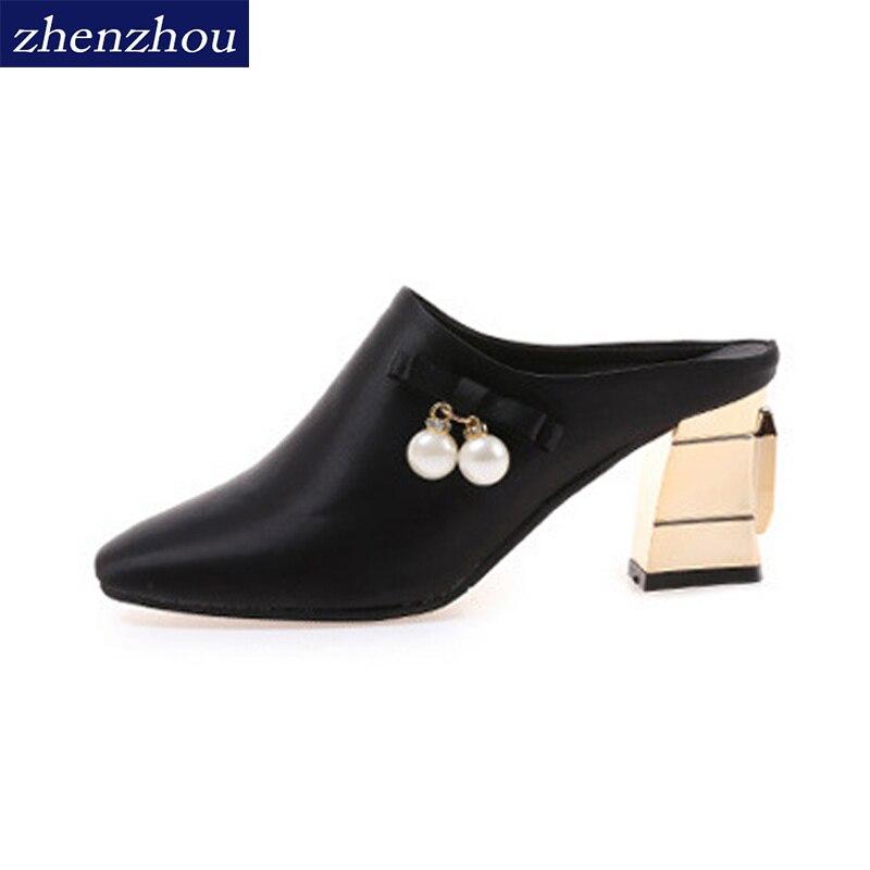 ZHENZHOU chaussures Femme 2018 Pantoufle nouveau Perlé Baotou pantoufles cool pantoufles dans les pantoufles de femmes avec épais sexy pantoufles