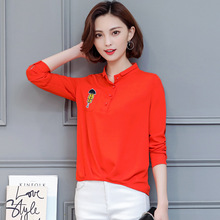 Women all match long sleeve polo neck top loose plus size slim shirt basic thin polo shirt