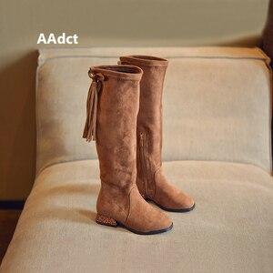 Image 2 - Aadct 가을 2018 여자를위한 새로운 공주 높은 부츠 패션 키즈 부츠 브랜드 하이힐 술 클래식 어린이 부츠