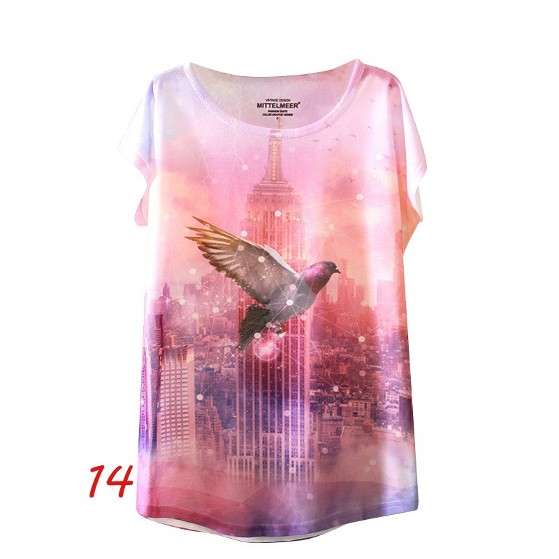 HTB1suzMNFXXXXaGXpXXq6xXFXXXx - Fashion Summer Animal Cat Print Shirt O-Neck Short Sleeve