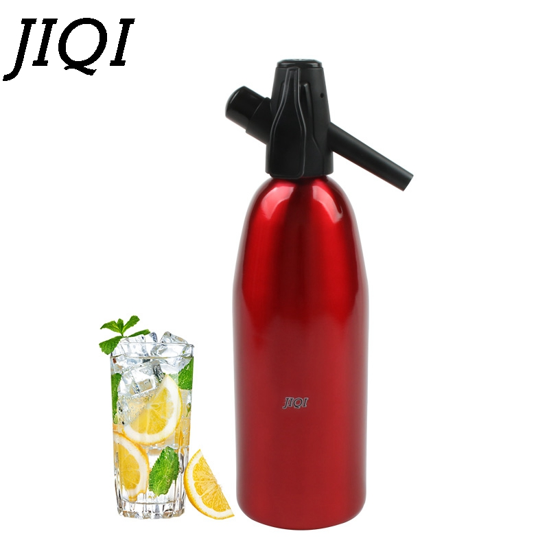 JIQI Manual 1L Soda Siphon CO2 Dispenser WATER Bubble Generator Cool Drink Cocktail Soda Machine Aluminum Bar DIY Soda Maker