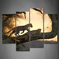 4 Panels Unframed Canvas Photo Prints The Leopard In The Tree Wall Art Picture Canvas Paintings