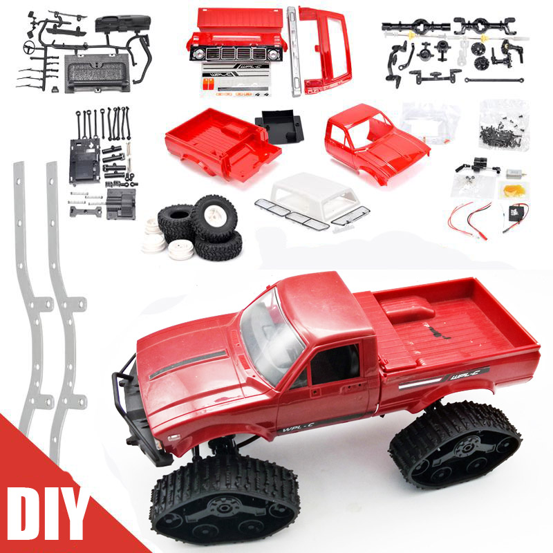 WPL C24 DIY Radio Controlled Cars Off Road RC Car Parts 1:16 RC Crawler Military Truck Body Assemble Kit Electric Car Conversion