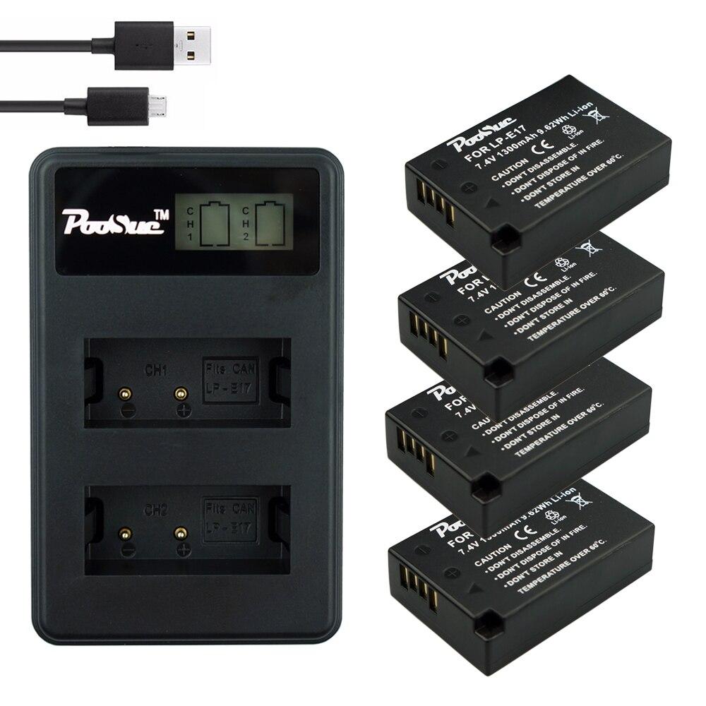4x1300mAh LPE17 LP E17 LP E17 Battery+LCD USB Dual Charger for Canon EOS 200D M3 M6 750D 760D T6i T6s 800D 8000D Kiss X8i Camera