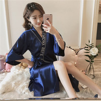 Women Silk Satin Letter Wedding Bride Bridesmaid Robe Bathrobe Midi Kimono Robe Night Robe Bath Robe Gown With pocket AD367