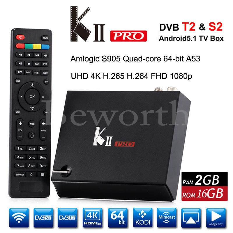KII Pro Android DVB-S2 DVB-T2 Smart TV Box 2GB 16GB Amlogic S905 Quad Core Wifi Bluetooth KODI Media Player VS Mi Set Top Box i box rs232 dvb s satellite smart sharing nagra 3 dongle black