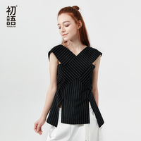 Toyouth Elegant Stripe Irregular Blouse 2019 Summer Women Tops Shirt V Neck Sexy Office Blouses Sleeveless Split Blusas Mujer