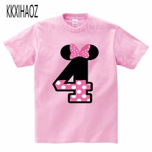 2019  Number 4-6 Letter Print Girls T shirt Kids Happy Birthday Gift Clothes Toddler Baby Cartoon T-shirt, MJ4236