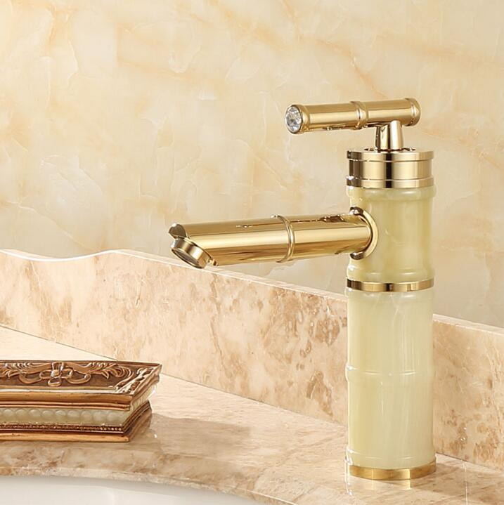 New jade and brass faucet gold finished bathroom basin faucet,Luxury sink tap basin mixer High Quality water tap new design gold plating luxury bathroom basin faucet single handle vanity sink mixer water tap brass and jade basin sink faucet