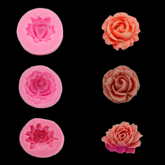 Rose / Flower Silicone Mold For Fudge, Cake Decorating Chocolate Cookies Soap Fimo Polymer Clay Resins Kitchen Baking Tools
