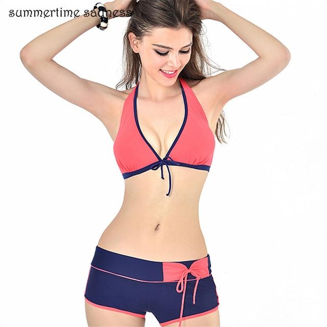 b53d31dd63 Boxer Shorts traje de baño mujeres Sexy Bikinis 2019 tiras Swimswear verano  femenino bañistas Beach Split