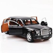 1:24 رولز رويس فانتوم نماذج من السيارات المعدنية نموذج الصوت والضوء التراجع SUV للأطفال 7 أبواب يمكن فتح السيارات مصغرة