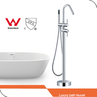 WELS AND CUPC Chrome Finish Solid Brass Floor Standing Tub Shower Faucet With Hand Shower Head