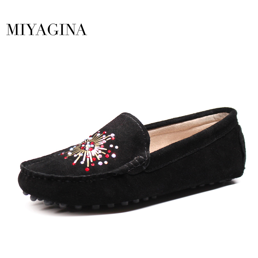 MIYAGINA New Fashion Women Shoes Round toe Slip on Ladies Loafers 100% Genuine Leather Woman Flat Shoes Female Footwear new women flats shoes leather round toe shoe ladies fashion leather girl shoes slip on work footwear spring summer big size