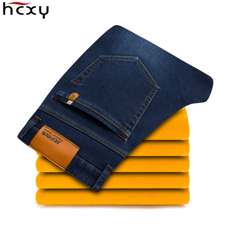 HCXY 2017 winter Brand High end Mens thick cashmere denim pant male Casual jeans Men trousers comfortable Warm and strong pants jeans men s blue slim fit fashion denim pencil pant high quality hole brand youth pop male cotton casual trousers pant gent life