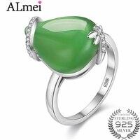 Almei Green Big Teardrop Jasper Wedding Rings 925 Sterling Silver Plants Pea Shooter Ring Rhinestone Fine Jewelry with Box CJ028