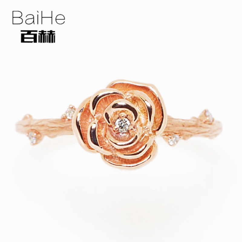 BAIHE Solid 14K Rose Gold 0.05CT Certified H/SI Round 100% Genuine Natural Diamonds Engagement Women Trendy Fine Jewelry RingBAIHE Solid 14K Rose Gold 0.05CT Certified H/SI Round 100% Genuine Natural Diamonds Engagement Women Trendy Fine Jewelry Ring