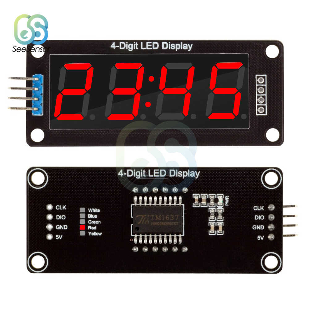 "TM1637 Digital Clock Double Dots Module 4-Digit LED Clock 0.56"" 0.56 Inch 7 Segments Tube Module Red Display"